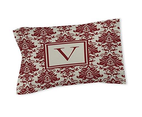 Manuelle holzverarbeiter & Weavers Kissen Sham, Standard, Monogramm Buchstabe V, Crimson Damast -