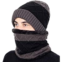 HAOLIEQUAN Plaid Strickmützen Hut Schal Set Hohe Qualität Winter Hut Dicke Warme Mann Frau Samt Ski