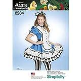 Simplicity Muster 8234Schnittmuster Alice im Wunderland Cosplay Kostüm, weiß