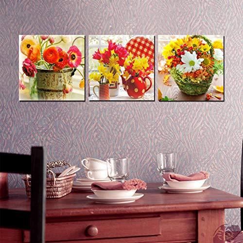 KDSFHLL 3 Panel Dekorative Malerei 3 Blätter Blume Körbe Malerei Druck Auf Leinwand Wand Kunst Bild Vintage Home Decor Leinwand Wand Kunst Für Wohnzimmer -