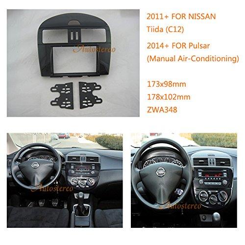 autostereo KFZ Radio Einbau Rahmen für Nissan Tiida (C12) 2011+; Pulsar 2014+ (Manuelle Klimaanlage) Stereo Faszie Dash CD Trim Installation Kit