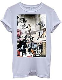 Banksy Street Art Graffiti Cool Funny Hipster Swag White Blanc Femme Homme Men Women Unisex Top T-Shirt