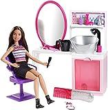 Mattel - Barbie - Sparkle Style - Salon de Coiffure - Poupée Mannequin Brune + Décor