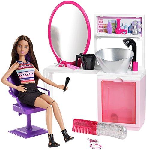 Barbie Mattel dmm65–Purpurina de Salon y muñeca brünette