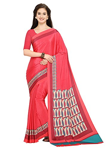 Applecreation Women's Crepe Pink Saree With Blouse Latest Collection (Free Size_2CRP20012A Sarees)