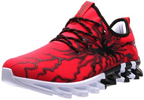 BLOOMNEXT Herren Sportschuhe Schnürschuhe Atmungsaktiv Moderne Freizeit Sneaker Schuhe Outdoor Laufschuhe Low-Top Bequeme Turnschuhe Gymnastikschuhe Männer Jungen Rot Schwarz 41 EU (42 Asien) Top-Angebote