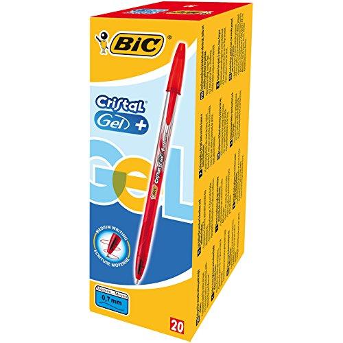 Bic cristal gel + penna a gel, punta fine da 0,7 mm, confezione da 20 pezzi, rosso