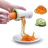 Uten Spiralschneider Hand für Gemüsespaghetti Kartoffel, Zucchini Spargelschäler Gurkenschneider mit 2 Klingen, Gemü