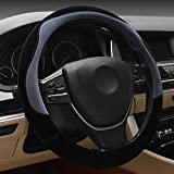Hivel Winter Velours Hit Farbe SpleiBen Plusch Lenkradbezug Weich Warm Lenkradhulle Universal Anti Rutsch Velour Hit Color Splicing SpleiB Lenkradschoner Fahrzeug Auto Lenkradabdeckung Vehicle Car Steering Wheel Cover 38cm - Grau