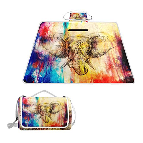 TIZORAX - Manta de pícnic con diseño de Elefantes Coloridos, Impermeable, Plegable,...