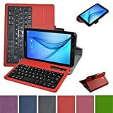 "Tab E 8.0 Bluetooth Keyboard Case,Mama Mouth Coustom Design Slim Stand PU Leather Cover With Romovable Bluetooth Keyboard For 8.0"" Samsung Galaxy Tab E 8 T377 Sprint 4G Lte Tablet,Red"