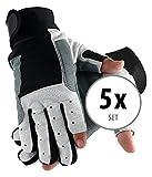 Stagecaptain 5er Set Rigger Handschuhe M (Größe M, mit 2 kurzen Fingern, Innenfläche Kunstleder, aufgesetzte Verstärkungen) Grau/Schwarz