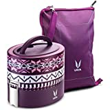 Vaya Tyffyn Stainless Steel Lunch Box With Bag Set, 600ml, Set Of 2, Wool