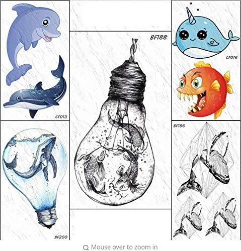Birne Goldfish Squid temporäre Tätowierung Aufkleber Ozean gefälschte Tätowierung Frau Junge Kind wasserdichte Tätowierung ()