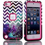 Topforcity PC + TPU Chevron and Anchor on NebulPattern Hybrid Impact Armored Hard Case for Apple iPod Touch 5 with Screen Protector(rose)