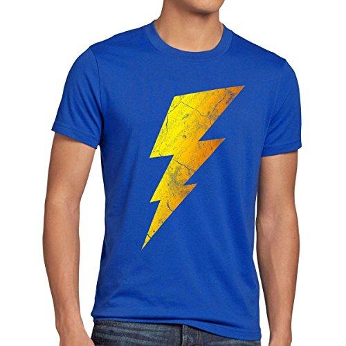 Lightning Bolt Herren T-Shirt, Größe:L;Farbe:Blau (The Big Bang Theory Superhelden Kostüme)