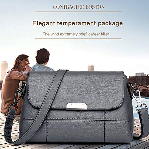 Yoome Soft Große Kapazität Flap Tasche Multi Taschen Tasche Vintage Taschen für Teenager Womens Messenger Bag - Schwarz Champagner