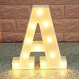 Broadroot 3D Englisch Buchstaben Form LED Nachtlicht Wandbehang Festzelt Zeichen Alphabet Licht Schlafzimmer Hochzeit Party Leuchte Deko Lampe (A)