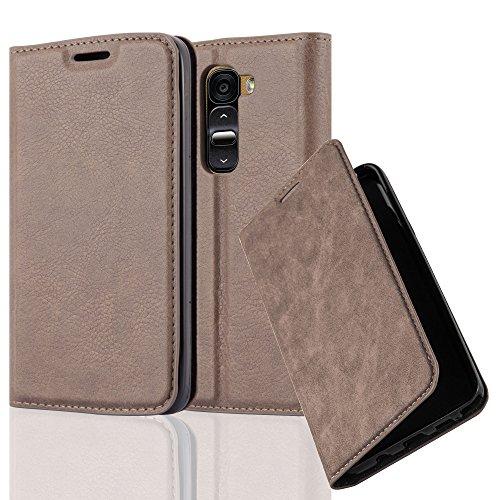 Cadorabo Hülle für LG G2 Mini - Hülle in Kaffee BRAUN – Handyhülle mit Magnetverschluss, Standfunktion und Kartenfach - Case Cover Schutzhülle Etui Tasche Book Klapp Style