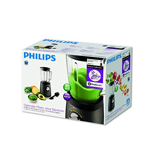 Philips HR2196/08 Avance Collection-Batidora, 900 W, Jarra de Cristal de 2 litros, con espátula, función para Picar Hielo, 25 Vidrio, Titanio