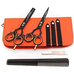 Candure Coiffure Ciseaux De Coiffure Barber Salon De Coupe De Cheveu Noir Vis éclaircie (5.5 pouces)