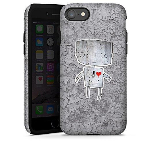 Apple iPhone X Silikon Hülle Case Schutzhülle Roboter Herz Grafik Tough Case glänzend