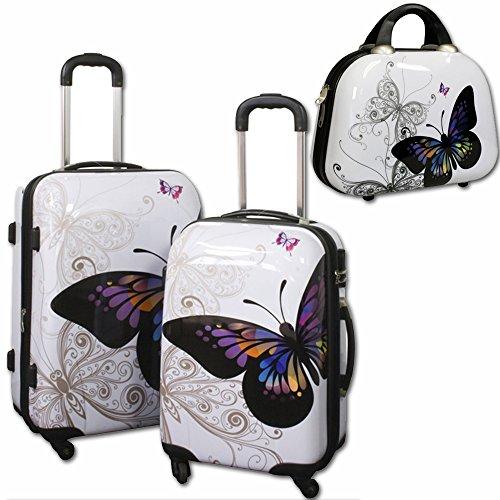 JEMIDI 3er Set Butterfly Koffer Reisekoffer Hartschalenkoffer Trolley Designer Kofferset Set 3 Butterfly (3er Set: 40 Liter & 68 Liter & Beautycase)