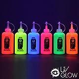6 x 175ml UV-Stoffmalfarben Schwarzlicht Waschfest Textilmalfarben Textilfarben T-Shirt Kleidung