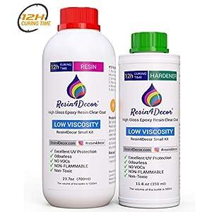 Asciugatura veloce (12H) Resina epossidica Trasparente per creazioni Effetto Acqua UV Resin4Decor Art Resin, 1050 ml