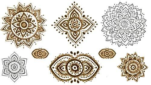 Tatuajes temporales dorados y plateados con diamantes de mandala, tatuaje temporal, para hombre y mujer, tatuaje temporal, para brazos, piernas, pantorrillas, brazos, cuello, 10,5 x 6 cm