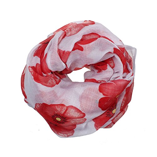 Jaysis Damen Schal Rosa, roter Mohn-Druck-Langer Schal-Blumen-Strandwickel-Damen Stola Schal XXL -