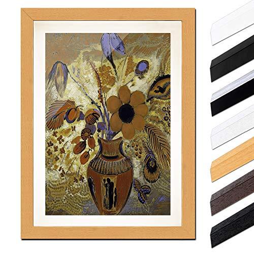 Bild mit Rahmen - Odilon Redon Etruskische Vase mit Blumen 60x80cm ca. A1 - Gerahmter Kunstdruck inkl. Galerie Passepartout Alte Meister - Rahmen buche -