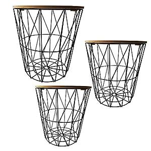 Beistelltisch 3er Set Couchtisch im Industrie Design aus Metall mit Holz Tischplatten Ø 29 cm Ø 34 cm Ø 39,5 cm
