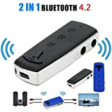 HKFV B6 2in1 BT4.1 A2DP Sender und Empfänger Wireless Audio Aux Adapter 3,5 mm F2 2 in 1 Bluetooth Empfänger Sender Bluetooth-Adapter (Schwarz)