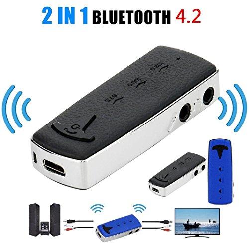 HKFV B6 2in1 BT4.1 A2DP Sender und Empfänger Wireless Audio Aux Adapter 3,5 mm F2 2 in 1 Bluetooth Empfänger Sender Bluetooth-Adapter (Schwarz) (Phantom 1 Empfänger)