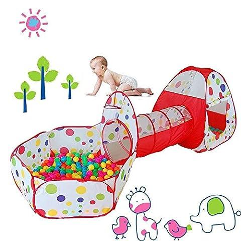Tente de Jeu pour Enfants Maison et Tunnel Tente igloo Pop Up Tunnel Tente Piscine à boules avec tunnel Maison de Jouet et Piscine Facile Pliant (Modèle 3)