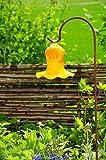 Glas-Deko für Garten,Blüten und Zapfen, Gartenkugel Massivglas ROBUST, Tulpe Tropfen, Blume mit Hakenhalter Schäferstab FROSTSICHER & MASSIV Glas-Dekoration Blüte Gartentulpe Glocke Sonnenfänger für