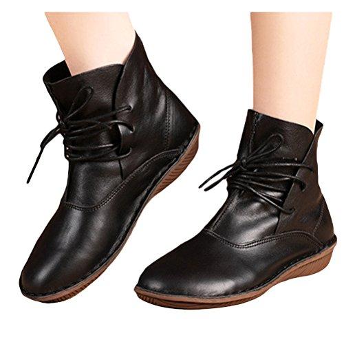 MatchLife Femme Cuir Bottes Lacets Plate Chaussures Style3-Noir