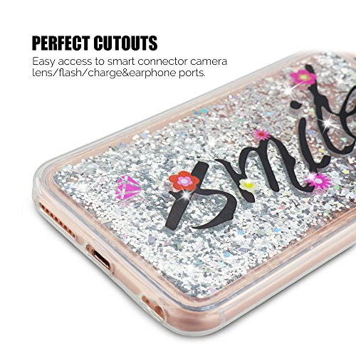 Coque iPhone 6S Plus , Etui iPhone 6 Plus Anfire 3D Liquid Sables Mouvants Case Étoile Paillettes Housse Bling Glitter Transparent Gel Silicone Etui de Protection Bumper Souple Quicksands Arrière Cris Argent Smile