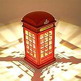 Nachttischlampe,Vintage London Telefonzelle entworfen Motiv-Lampen Dimmbare LED Lampe Touch Sensor für Schlafzimmer Studenten Wohnheim Beleuchtung Home Bar Dekoration und USB Cable(Mit Batterie).