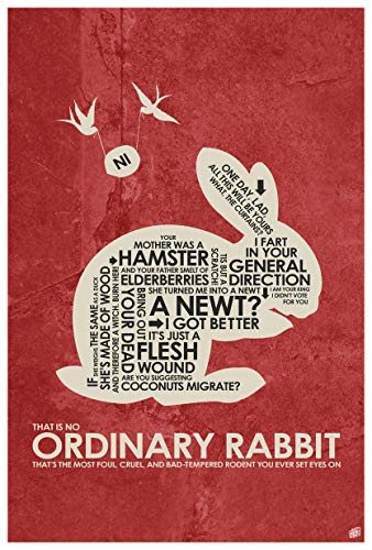 "Northwest Art Mall Monty Python, Holy Grail, That is NO Ordinary Rabbit Wort-Kunst-Druck-Plakat (12"" x 18"") by Artist Stephen Poon."