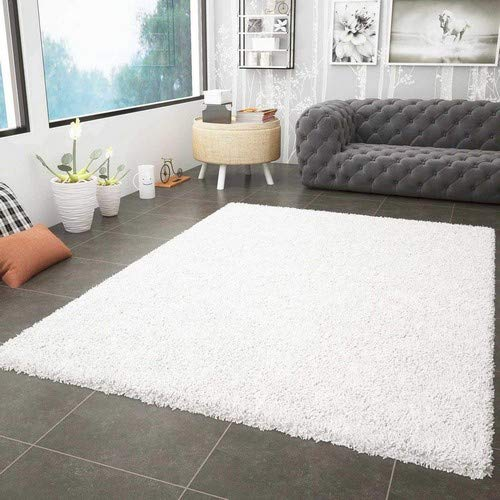 VIMODA Prime Shaggy Teppich Weiss Creme Hochflor Langflor Teppiche Modern, Maße:60x100 cm