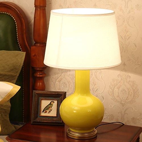 China Crema (Europäische Lampe China Keramik Schlafzimmer Nachttischlampe Retro Luxus dekorative Schreibtisch Lampen, Breite: 38cm, hoch: 64cm)