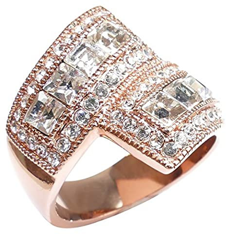 Ah! Jewellery Appealing Rose Gold Filled Exquisite Overlapping Ring. Princess