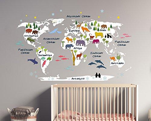 Wandtattoo Weltkarte für Kinder in weiß mit Bunten Tieren (110 x 68 cm)