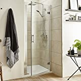 Hinged Reversible Bathroom Outward Opening Shower Door Sizes from 700mm-900mm Chrome Frame 760mm
