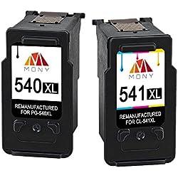 Mony Remanufacturé Cartouches d'Encre pour Canon PG-540 CL-541 XL (1 Noir et 1 Tri-couleur, 2 Pack) Compatible avec Canon Pixma MG3550 MG4250 MG3650 MX475 MG3250 MG3200 MG3150 MX535 Imprimante