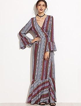 Xiaotiantian Tubino Vestito Da donna-Vacanze Vintage / Boho Con stampe A V scollato Maxi Manica lunga Multicolore…