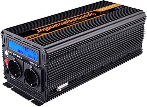 EDECOA Spannungswandler 24V 230V Reiner Sinus 2000W Wechselrichter 24V 230V mit LCD-Bildschirm, USB und Fernbedienung Spannungswandler Reiner Sinus