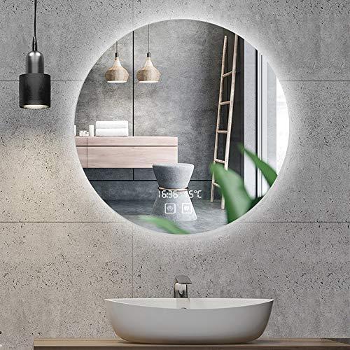 Espejo Retroiluminado LED Espejo Redondo Pared Cuarto Espejo De Vanidad De Baño...